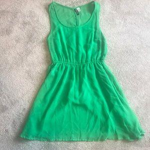 H&M Green Sheer-Top Dress Size US8